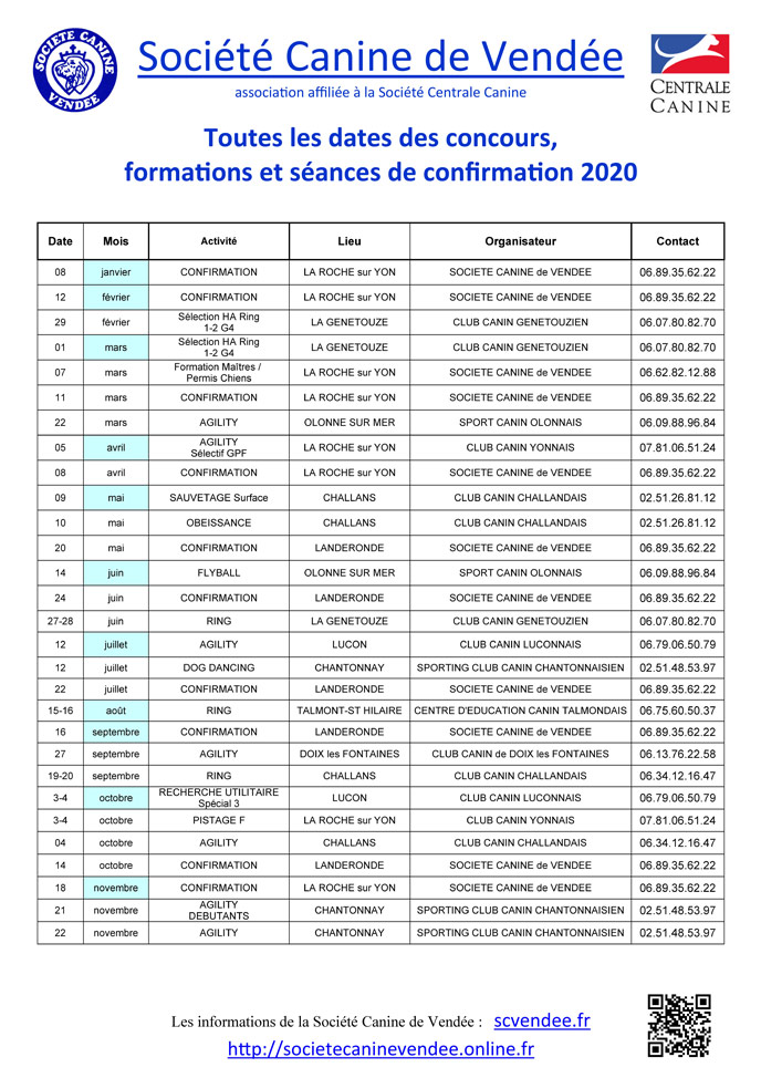 Affiche calendrier SCV 2020