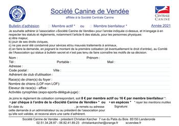 adhésion Société Canine de Vendée 2021