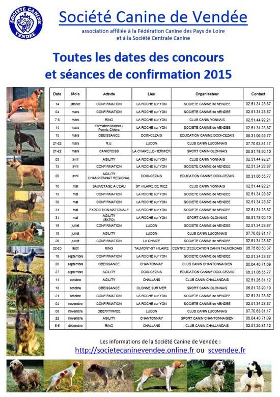 calendrier SCV 2015